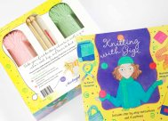 Book with yarn and knitting needles